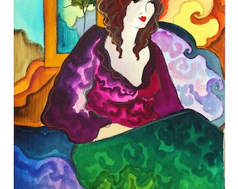 "Patricia Govezensky Original Watercolor 11x14"" titled Lost in my Mind 