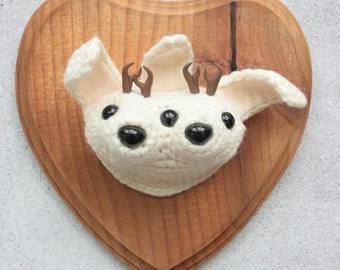 Faux Taxidermy Conjoined Twin Jackalopes, White Bunnies on Stained Wood Plaque