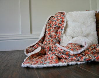 Pink Coral Floral Faux Fur Cuddle Baby Blanket // Rifle Paper Co. Throw Blanket// Minky Baby Blanket // Girly