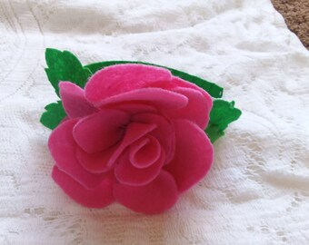 felted rose headband