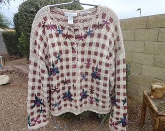 Size Medium sweater 42 in bust 24 in leng Ramie Cotton-sweater-ugly sweater- sweater- ugly christmas sweater--