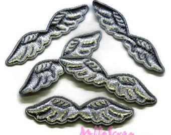 Set of 5 wings fabric silver embellishment scrapbooking card (ref.310). *.