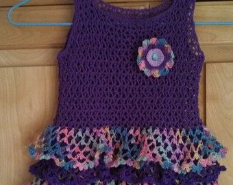 Hand crocheted baby girl dress, 6 to 9 months