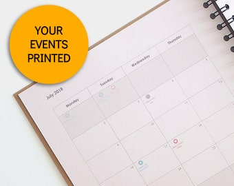 your special dates, printed inside of your planner