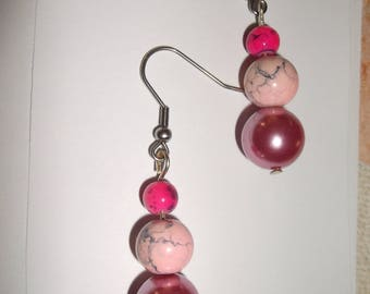 earring 3 pink beads
