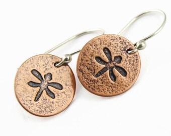 Copper Dragonfly Earrings, Small Disc Earrings, Oxidized