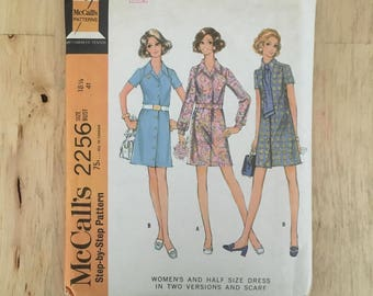 1960's vintage shirt dress pattern with matching scarf McCall's 2256 Size 18 1/2 Bust 41""
