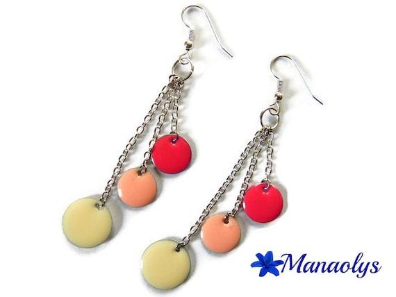 Pink earrings, enamel, enamelled sequins, long dangle earrings