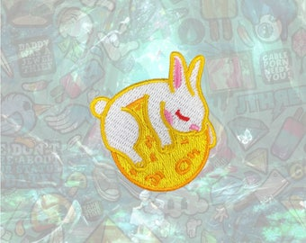 Rabbit Lie on the moon Patch Cartoon Patch Iron on Patch Sew On Patches back patch