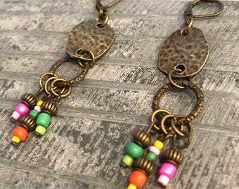 Bohemian Earrings, Bronze earrings, Multi Color Earrings, Dangle Earrings, Boho Jewelry, Ethnic earrings, Hippie earrings, Gift for her