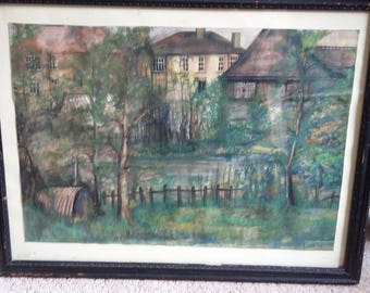 Original Townscape 1967 Janis Hughes Mixed Media