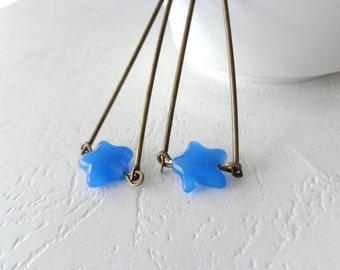 Blue star triangle earrings
