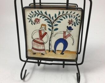 Vintage Metal Napkin Holder Unusual Tile Sides