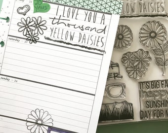 A Thousand Yellow Daisies Clear Stamp Set Gilmore Stamps Summer Planner Journal