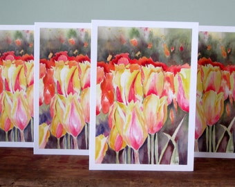 Spring Cards, Easter Cards, Tulip Blank Card Set, Floral watercolor, Blank cards, All Occasion Cards