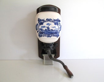 Vintage Delft Porcelain Coffee Grinder Hand Painted Blue and White Holland Windmill Wall Mounted