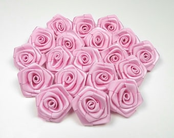 10 pearls, satin pink rose 3 cm in diameter ref 148