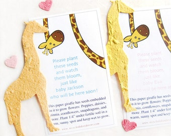 10 Plantable Seed Paper Giraffes - Baby Shower Favors - Personalized - Kids Birthday - Zoo Wedding - with Flower Seeds - Gift Box Option