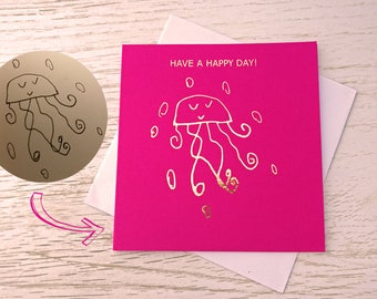 Design your own foil card. Custom drawing card. Foil print. Personalised card. Children's drawing card. Mothers day card. Fathers day card