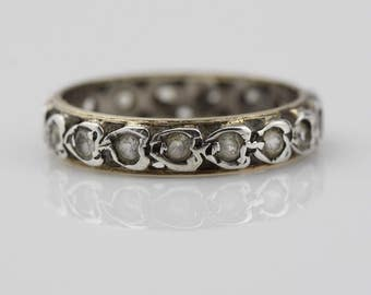 Sterling Silver and 9ct Gold Band Ladies Ring with Small Paste Stones Size UK N 1/2 and US 7  Missing One Stone