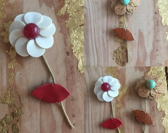 Flower brooch made of leather and natural stone