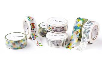 3 rolls Washi Tape Set mt Kids - 15mm x 7m each - Building Blocks String Art Jigsaw Puzzle