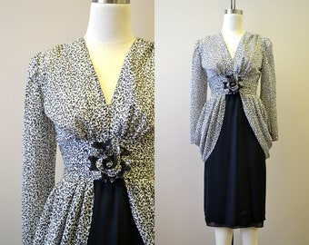 1980s-does-1940s Black and White Dress