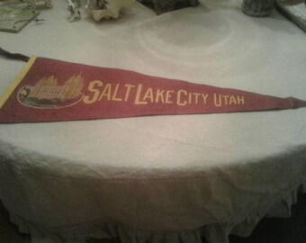 Salt Lake City, UT felt travel pennant