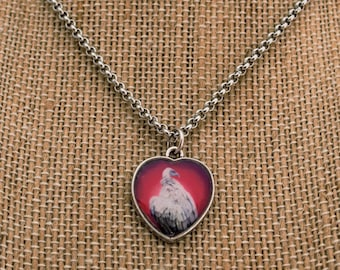 Silver Heart Vulture Necklace