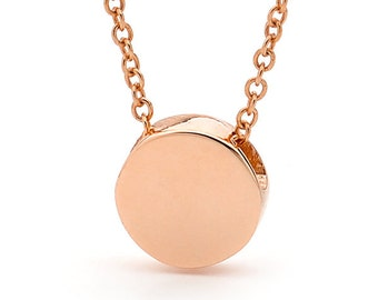 Rose Gold disc necklace, Small Baby Rose Gold disc Pendant on a Rose Gold cable chain