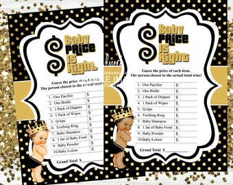 Royal Prince Price is Right Game, Baby Shower Games, Instant Download  - Digital File