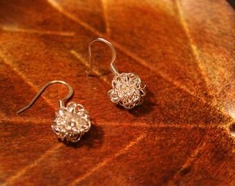 Silver Puff Ball Earrings (2708)