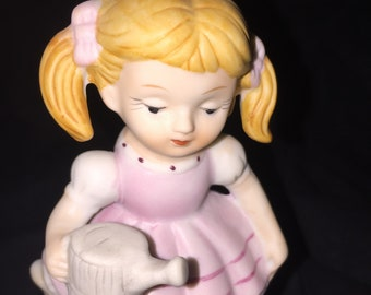 Vintage Bisque Girl with Watering Can Figurine