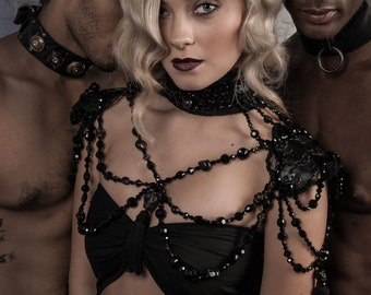 Marinette -  Black Jet Crystal and Skull Embossed Leather Statement Collar and Shoulder Harness ~ Gothic Bride Statement Necklace - To order