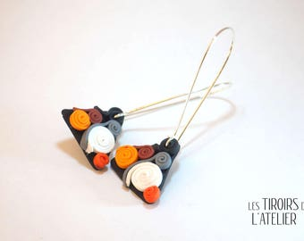 Stud Earrings with spirals, Orange, white and black, ethnic, Bohemian, boho, unique