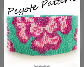 Indian Flowers Bracelet - Flowers Peyote Pattern Bracelet - For Personal Use Only PDF Tutorial , easy beadwoven pattern, purple flowers