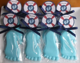 Nautical Baby Shower Favors - Baby Feet Baby Shower Favors, Baby Favors, Unique Baby Shower Favor Soap - Set of 10