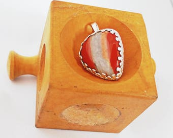 Banded Red Jasper and Sterling Silver Pendant, One of A Kind, Handmade in the USA, Womens Pendant, Artisan Jewelry