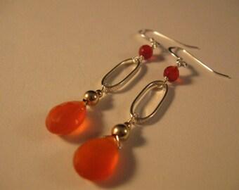 Gemstone Hoop Earrings, silver earrings, gemstone earrings, hoop earrings, drop earrings, dangle earrings, carnelian earrings, earrings