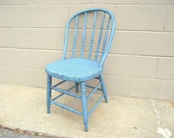 Antique Bentwood Spindle Back Chair - Primitive Rustic Windsor Farmhouse Country Chic - Old Blue Shabby Paint