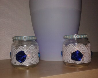 Romantic set of 2 candles in Style glass