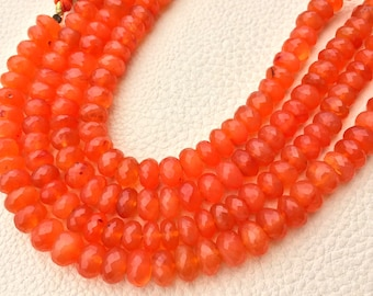 7.5 Inch Strand, Superb-Natural CARNELIAN Faceted Rondells, 8-7.5mm Long,Great Quality at Wholesale Price .