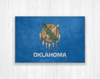 Oklahoma Flag Canvas, Single Panel Large Canvas, Three Panel Large Canvas, Oklahoma Flag, Large Canvas Wall Art, Vintage Flag on Canvas