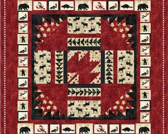 """Pattern (Hard Copy) to Make Oh Canada Quilt 60"""" x 76"""" Using Stonehenge Fabric by Northcott"""