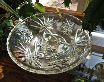 Starburst Pressed Glass Footed Candy Bowl Dish-Vintage