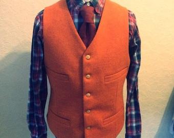 Orange Tweed Vest, Suit Wedding Vest, Custom made vest, Orange Harris Tweed Handmade Wool Vest, Mens Groom Best Man vest, Wool Waistcoat,