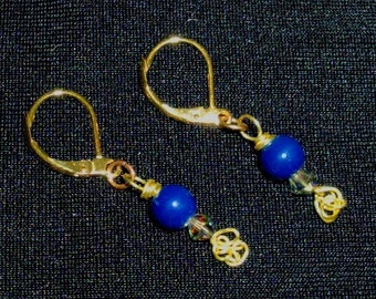 14K Real Gold Earrings - Gold Wire Wrapped, Navy Blue Bead. Small Multi-colored Swarovski, RedRobinArt, Grigsby Gallery & Gifts