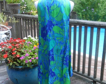 Vintage Shannon Rodgers for Jerry Silverman 1960s sleeveless paisley dress blue/green