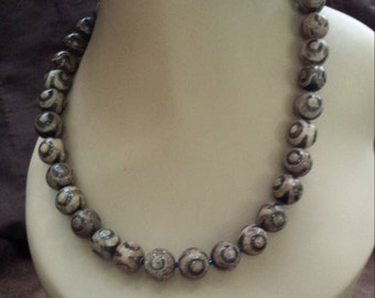 One strand beaded necklace made with painted jasper