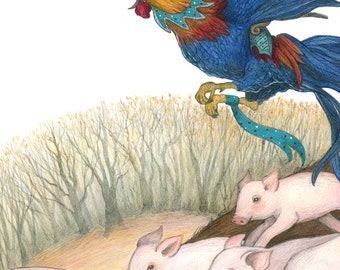 8x10 Print of Grimm's Fairytale of Hans-My-Hedgehog, Piglets